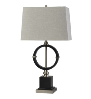 Draper | Transitional Wood and Metal Table Lamp | 150W | 3-Way | Hardback Rectangle Shade