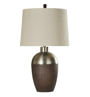 Harbin Molded Body Table Lamp with Dimpled Chrome Cap & Hardback Shade