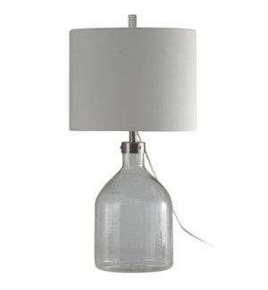 Clear Seeded Glass Table Lamp with French Wire