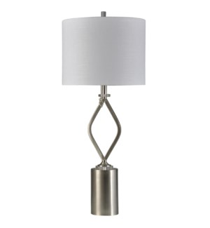 Brushed Steel | Transitional Steel and Acrylic Table Lamp | 150W | 3-Way | Hardback Shade