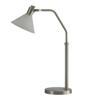 Brushed Steel | Adjustable Height Metal Task LED Lamp with Glass Shade