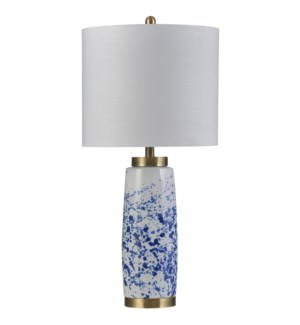 Splatter Blue | Transitional Ceramic and Steel Table Lamp | 150W | 3-Way | Hardback Shade