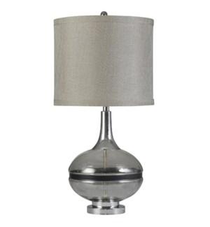 Elyse Smoke | Transitional | Glass and Steel Table Lamp | 150W | 3-Way | Hardback Shade