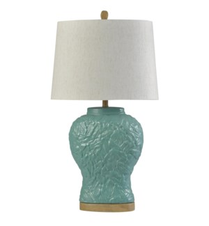 Oasis Sky | Traditional Ceramic Table Lamp | 150W | 3-Way | Hardback Shade