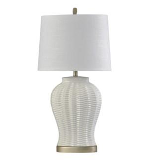 Arras | Transitional | Ceramic Body Table Lamp | 150W | 3-Way | Hardback Shade