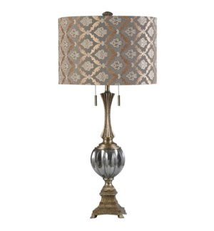 Beverly | Transitional Glass Accent Table Lamp | 60W X 2 | Twin Pull Chain | Hardback Designer Shade