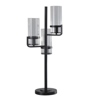 Satin Black | Contemporary Uplight Metal and Glass Table Lamp | 25W X 3 | On-Off Line Switch