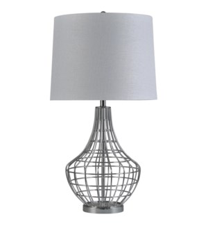Chrome | Transitional Caged Metal Table Lamp | 150W | 3-Way | Hardback Shade