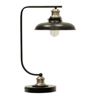 Arvin Silver | Arvin Silver | Industrial Steel Desk Lamp With Bulb | 60W | On-Off Switch