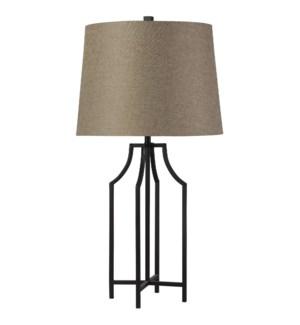 Bronzewood | Transitional | Iron Table Lamp | 150W | 3-Way | Hardback Shade