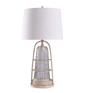 Old Cream Distressed | 34in Architectural Traditional Metal & Glass Body Table Lamp | 150 Watts | 3-