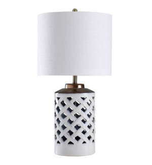 Lucine White | Traditional Cross Hatched Ceramic Open Work Body Table Lamp | 150 Watts | 3-Way