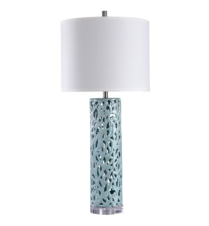 Anartia Blue | 38in Ocean Coral Motif in Open Work Ceramic | Transitional Coastal Table Lamp | 150 W