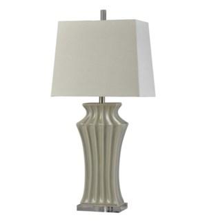 Kipling Grey | Traditional | Ceramic and Acrylic Table Lamp | 100W | 3-Way | Hardback Shade