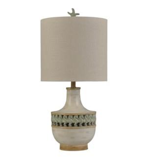 Treilis Blue | Coastal Traditional Table Lamp | Night Light Feature | 150W | 3-Way | Hardback Shade