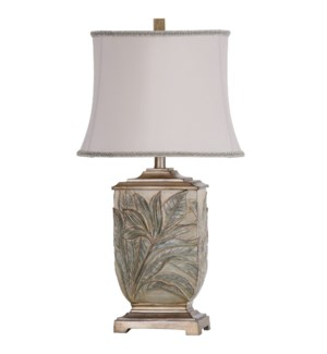 Foliage Embossed Bellevue Table Lamp with Neutral Trimmed Bell Shade