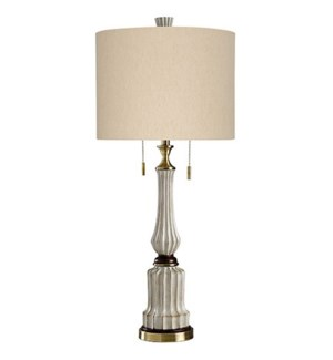 Sauga Cream | Traditional Fashioned Table Lamp in Antique White  Cherry Wood  and Brash with Twin Pu