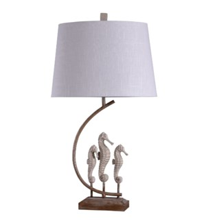 Oyster Bay | Traditional Coastal Seahorse Statued with Metal Stand Table Lamp | 100 Watts | 3-Way