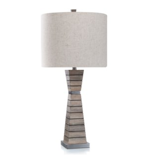 Cordia Silver | Handsome Transitional Wood and Metal Body Table Lamp | 150 Watts | 3-Way