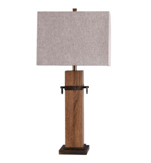 Cordia | Masculine Worldly Wood and Metal Accent Table Lamp | 100 Watts | 3-Way