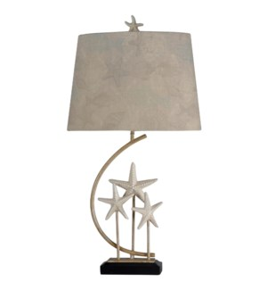 Sand Stone | Traditional Coastal Star Fish Statued with Metal Stand Table Lamp | 100 Watts | 3-Way
