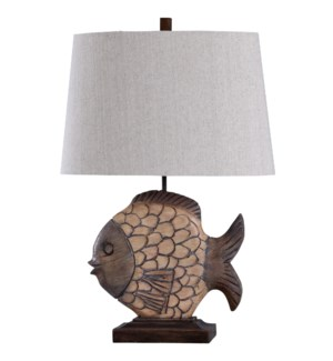 Nemo | Traditional Carved Fish Cast Base Table Lamp in Natural Tones | 100 Watts | 3-Way