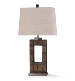 CHICKERELL TABLE LAMP | 33in ht. | Transitional Stacked Stone Window Design Table Lamp with Brushed