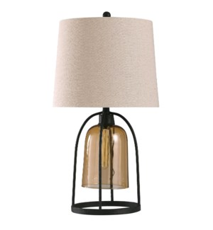 Malvern Amber | 31in Transitional Industrial Design Metal & Glass Body Table Lamp with Edison Pendan