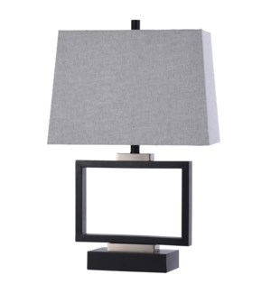 METTON SILVER | 17in w X 27in ht X 15in d | Hollow Black Metal Rectangle Base Table Lamp | 100 watts