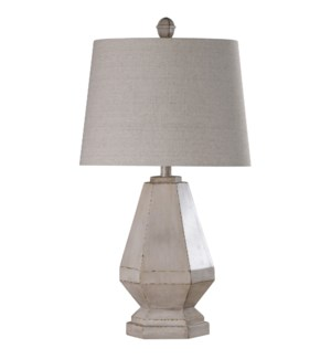 Storico | Traditional Weathered White Painted Base Carved and Casted Table Lamp | 100 Watts | 3-Way