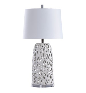 Anartia | Ocean Coral Motif in Open Work Ceramic | Transitional Coastal Table Lamp | 100 Watts | 3-W
