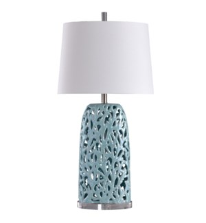 Anartia Blue | Ocean Coral Motif in Open Work Ceramic | Transitional Coastal Table Lamp | 100 Watts