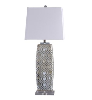 Ganado | Aztec Relief Design Solid Ceramic Body Table Lamp with Glazed Gloss Finish | 100 Watts | 3-