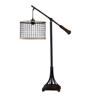 Textured Bronze | Industrial Steam Punk Inspired Metal Body Table Lamp with Adjustable Suspended Met