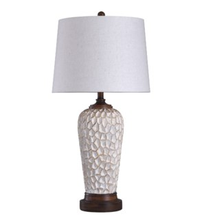 Rockwell | Painted Textured Stone Carved and Casted Traditional Table Lamp | 150 Watts | 3-Way