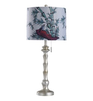 Imperial Silver | 31in Coastal Cast Table Lamp with Designer Print Shade | 100 Watts | 3-Way
