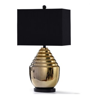 METALLIC GOLD | 31in X 17in | Art Deco Ceramic Table Lamp with Black Fabric Shade