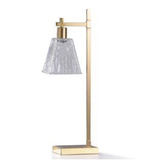 LUCA BRASS DESK LAMP | 10in w. X 28in ht. X 7in d. | Brass Metal Desk Lamp with Clear Etched Glass S