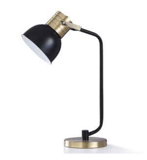 ELMSDALE GOLD DESK LAMP | 26in ht. | Metal Desk Lamp with Matte Black and Brass Adjustable Head Shad