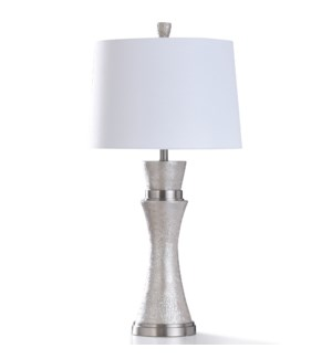 AGLONA TABLE LAMP | 18in w. X 36in ht. X 18in d. | Transitional Pearl Painted Pillar Design Table La