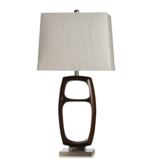 WOOD BRIDGE SILVER | Transitional Cast & Metal Base Table Lamp | USB & Convenience Outlet In Base |
