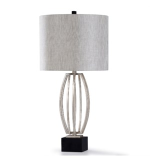 SILVER LEAF | 33in X 16in | Traditional Steel Table Lamp with Fabric Shade