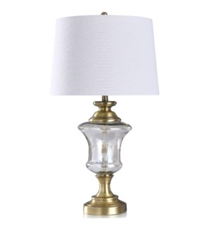 Opulance & Antique Brass | 32in Decorative Brushed Metal with Smoke Glass Body Table Lamp | 100 Watt