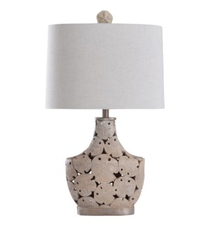 Porthaven | 32in Cast Sand Dollar Coastal Table Lamp | 100 Watts | 3-Way