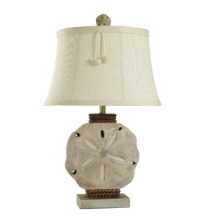Vipitenow with Silver | 31in Cast Sand Dollar Coastal Table Lamp with Shade Pendant | 100 Watts | 3-