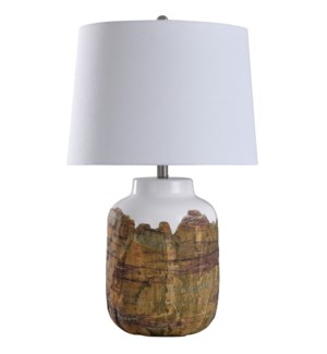 Canyon | 29in Rustic Earthtone Textured Ceramic Body Table Lamp | 150 Watts | 3-Way