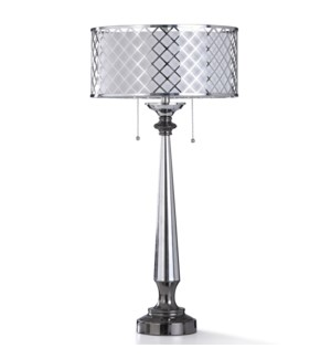 LOFTON TABLE LAMP | 17in w. X 34in ht. | Chrome and Nickel Metal Body Table Lamp with Laser Cut Shad