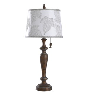 Girona Blue | 30in Cast Body Table Lamp with Designer Shade | 100 Watts | 3-Way Pull Chain