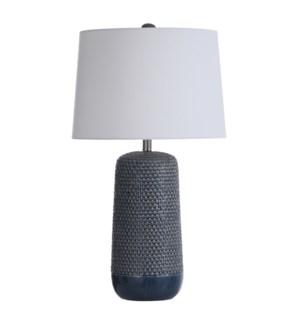 Patley Blue | 30in Subtle Ceramic Body with Woven Wicker Textured Design Table Lamp | 150 Watts | 3-