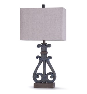 Brampton Blue | 33in Traditional Ornate Blue Distressed Table Lamp with Rectangle Hardback Shade | 1